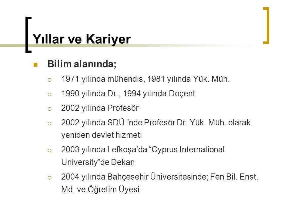 Yıllar ve Kariyer Bilim alanında;