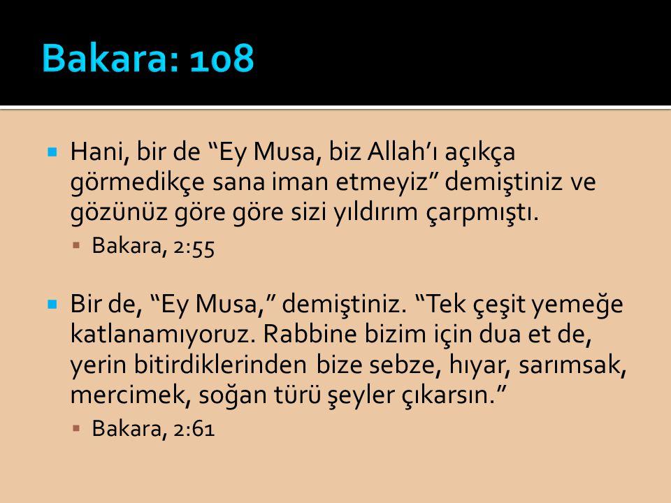 Bakara: 108 Hani, bir de Ey Musa, biz Allah'ı açıkça görmedikçe sana iman etmeyiz demiştiniz ve gözünüz göre göre sizi yıldırım çarpmıştı.