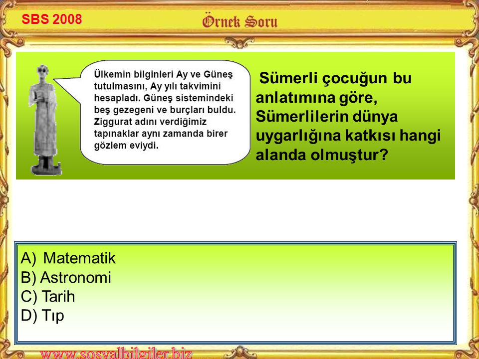 Matematik B) Astronomi C) Tarih D) Tıp SBS 2008