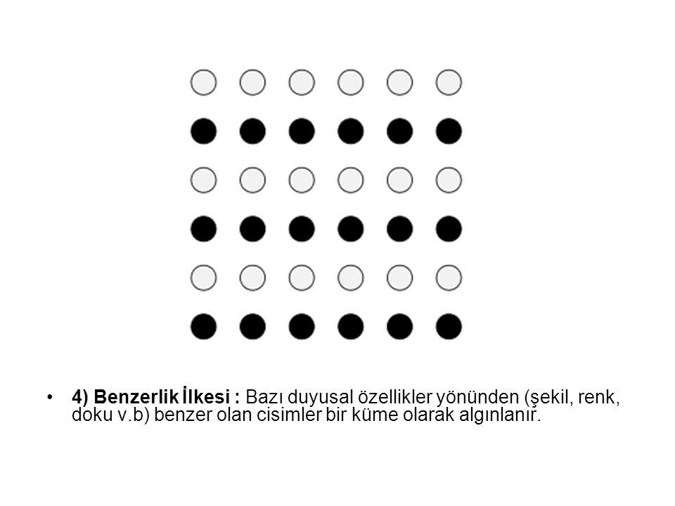 4) Benzerlik İlkesi : Bazı duyusal özellikler yönünden (şekil, renk, doku v.b) benzer olan cisimler bir küme olarak algınlanır.