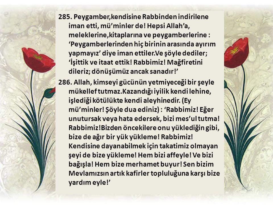 285. Peygamber,kendisine Rabbinden indirilene iman etti, mü'minler de