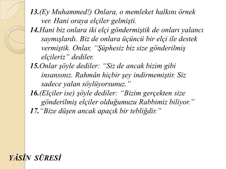 13. (Ey Muhammed. ) Onlara, o memleket halkını örnek ver