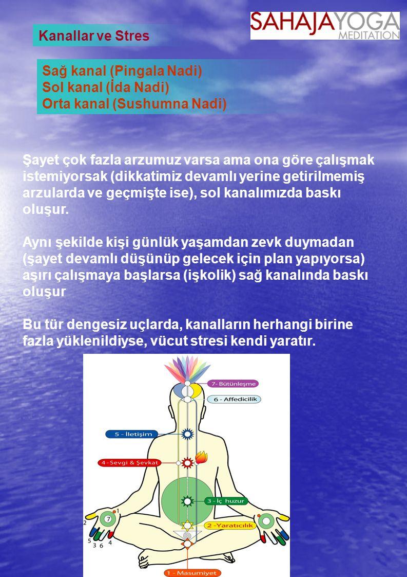 Kanallar ve Stres Sağ kanal (Pingala Nadi) Sol kanal (İda Nadi) Orta kanal (Sushumna Nadi)