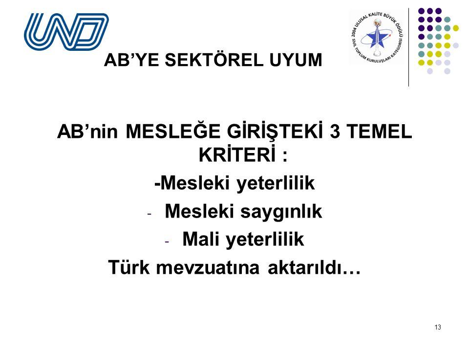 AB'nin MESLEĞE GİRİŞTEKİ 3 TEMEL KRİTERİ : Türk mevzuatına aktarıldı…