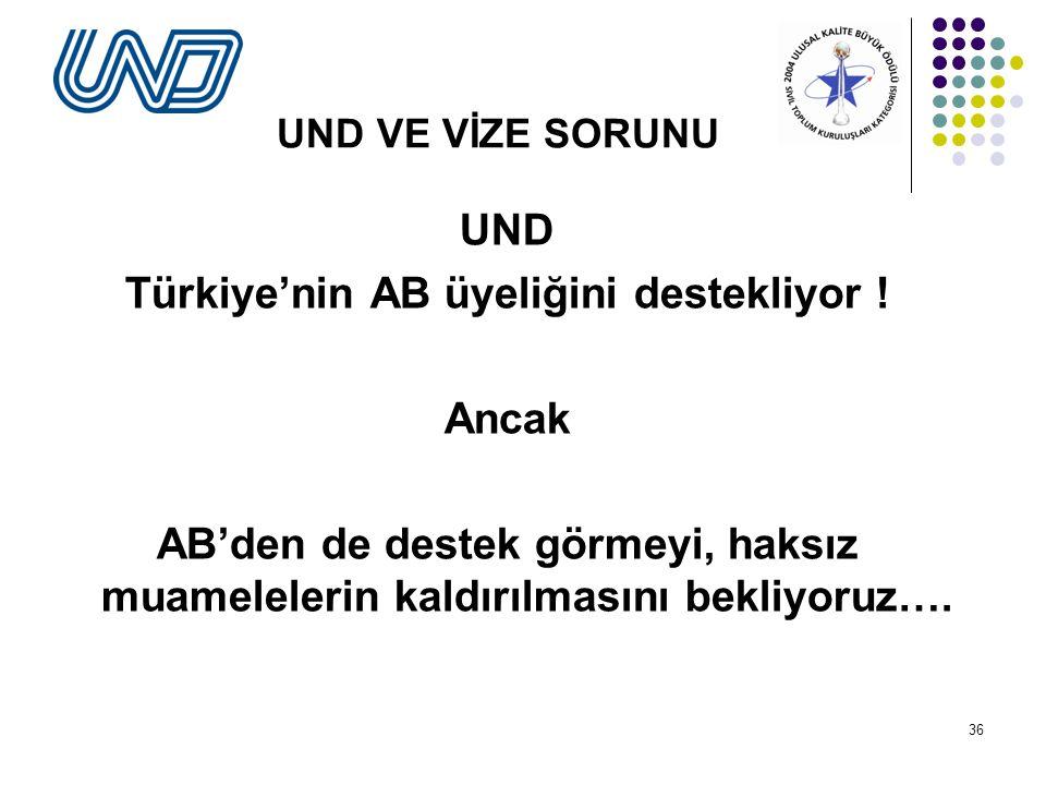 Türkiye'nin AB üyeliğini destekliyor !