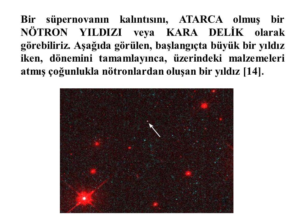 Bir süpernovanın kalıntısını, ATARCA olmuş bir NÖTRON YILDIZI veya KARA DELİK olarak görebiliriz.