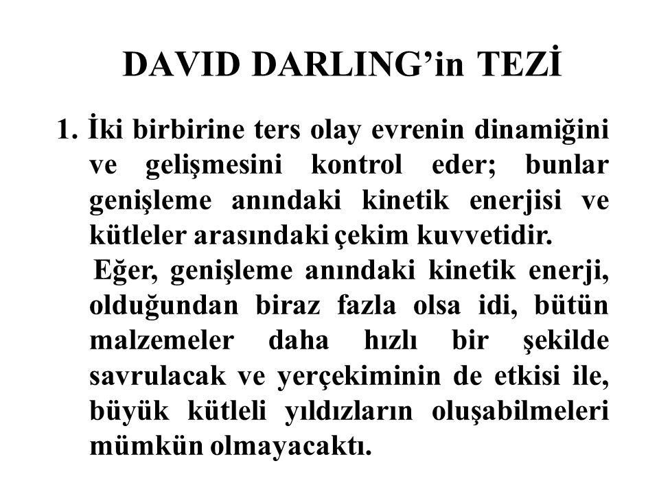 DAVID DARLING'in TEZİ