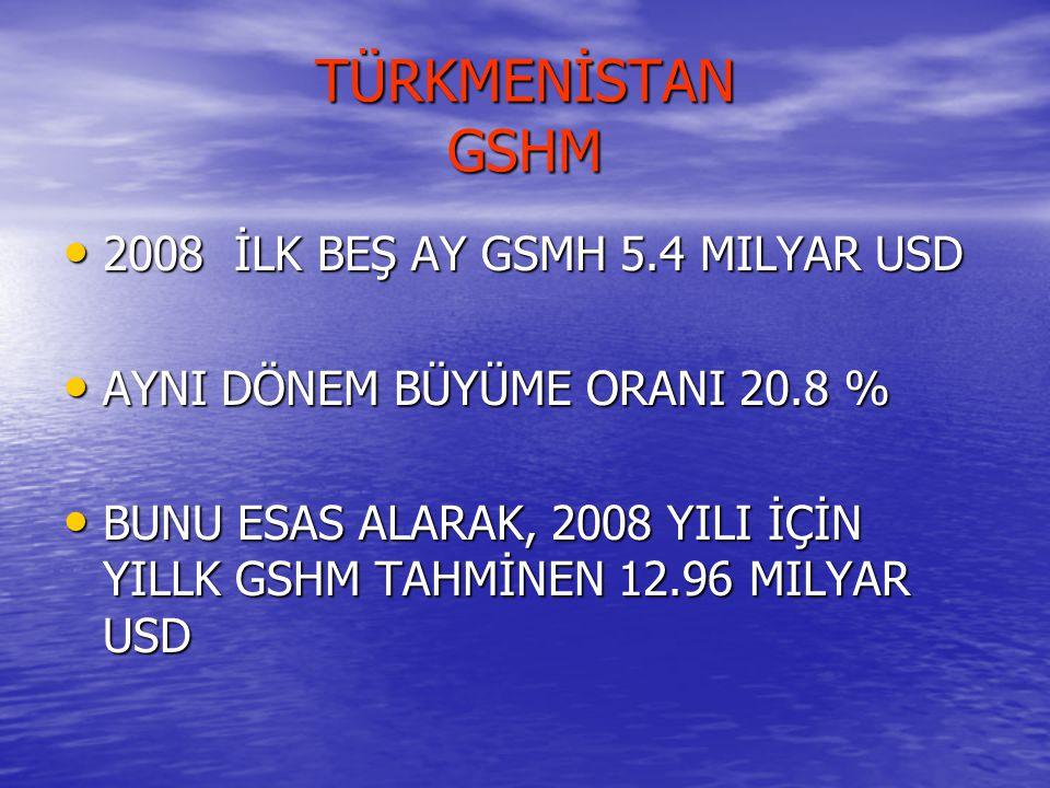 TÜRKMENİSTAN GSHM 2008 İLK BEŞ AY GSMH 5.4 MILYAR USD