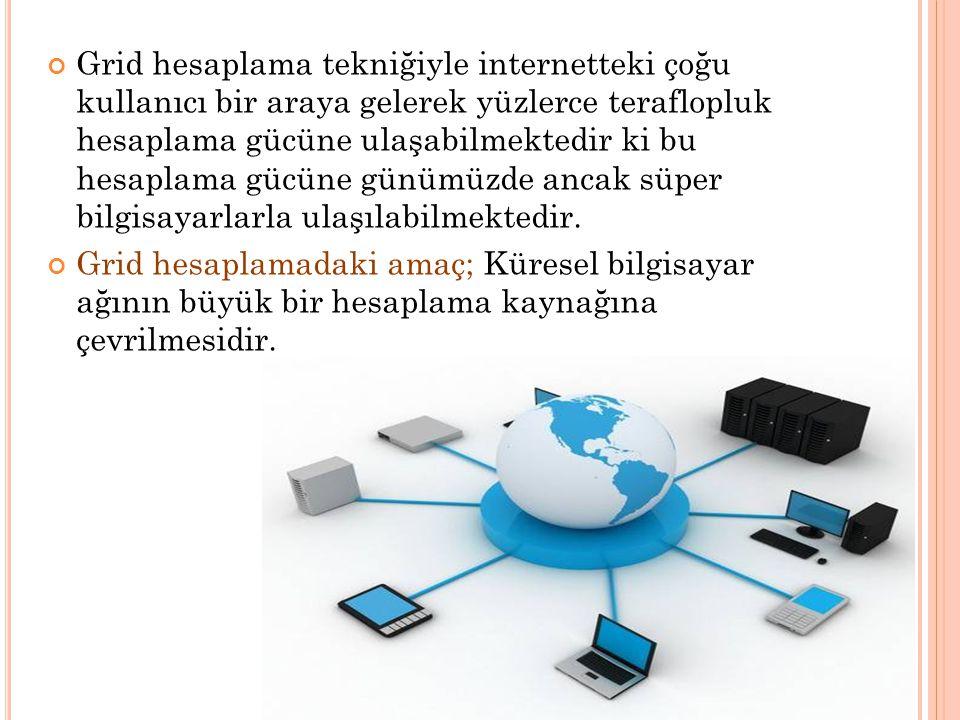 Grid hesaplama tekniğiyle internetteki çoğu kullanıcı bir araya gelerek yüzlerce teraflopluk hesaplama gücüne ulaşabilmektedir ki bu hesaplama gücüne günümüzde ancak süper bilgisayarlarla ulaşılabilmektedir.