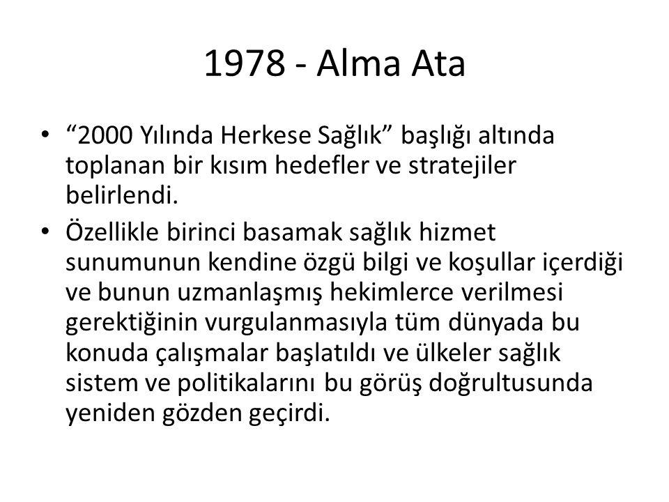 1978 - Alma Ata 2000 Yılında Herkese Sağlık başlığı altında toplanan bir kısım hedefler ve stratejiler belirlendi.
