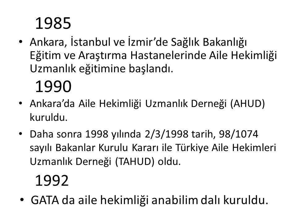 1985 1990 1992 GATA da aile hekimliği anabilim dalı kuruldu.