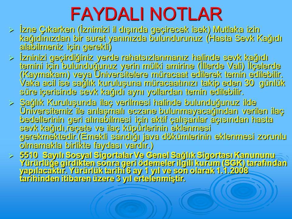 FAYDALI NOTLAR