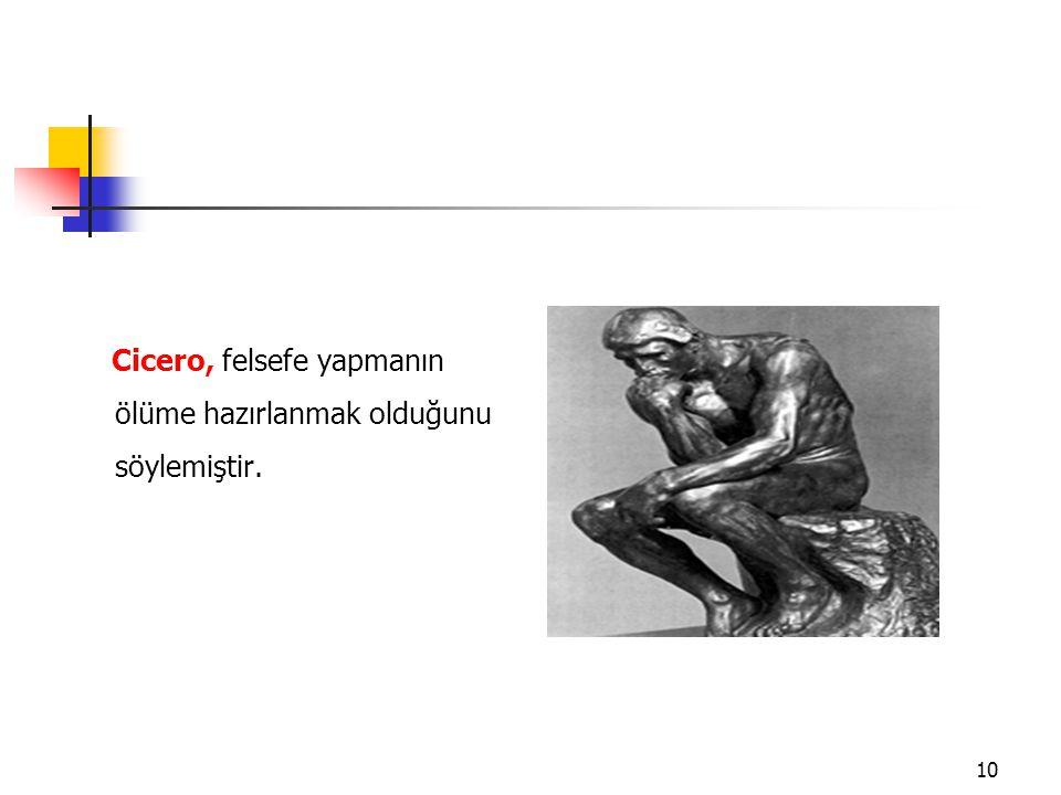 Cicero, felsefe yapmanın ölüme hazırlanmak olduğunu söylemiştir.