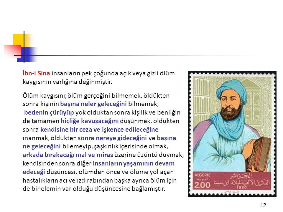 İbn-i Sina insanların pek çoğunda açık veya gizli ölüm kaygısının varlığına değinmiştir.