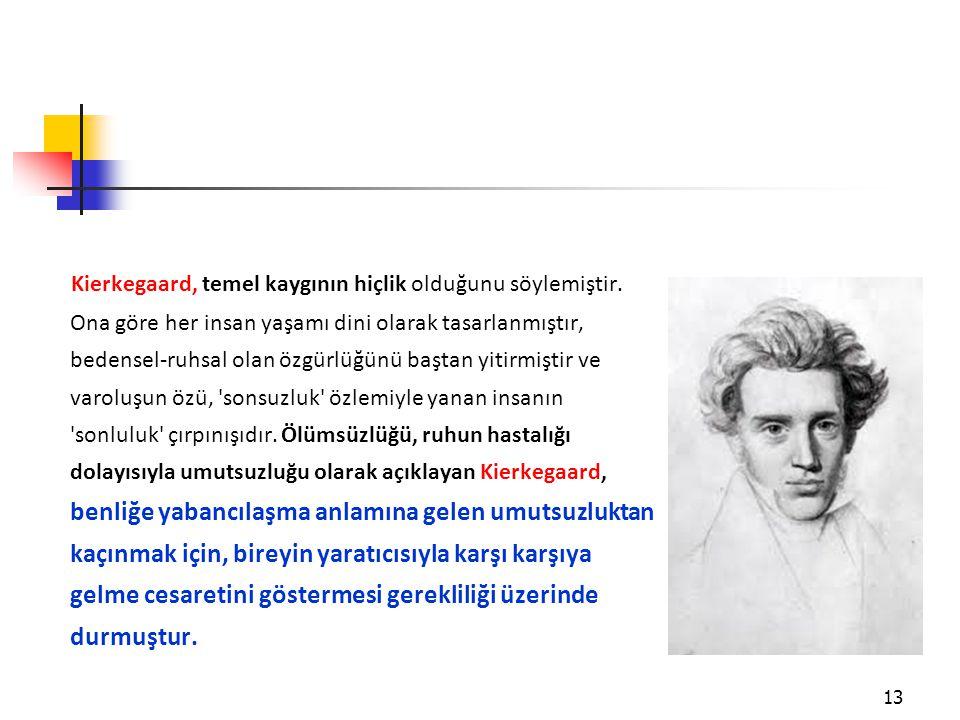 Kierkegaard, temel kaygının hiçlik olduğunu söylemiştir