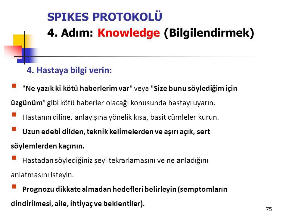 4. Adım: Knowledge (Bilgilendirmek)