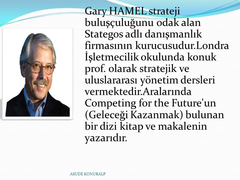 Gary HAMEL strateji buluşçuluğunu odak alan Stategos adlı danışmanlık firmasının kurucusudur.Londra İşletmecilik okulunda konuk prof. olarak stratejik ve uluslararası yönetim dersleri vermektedir.Aralarında Competing for the Future un (Geleceği Kazanmak) bulunan bir dizi kitap ve makalenin yazarıdır.