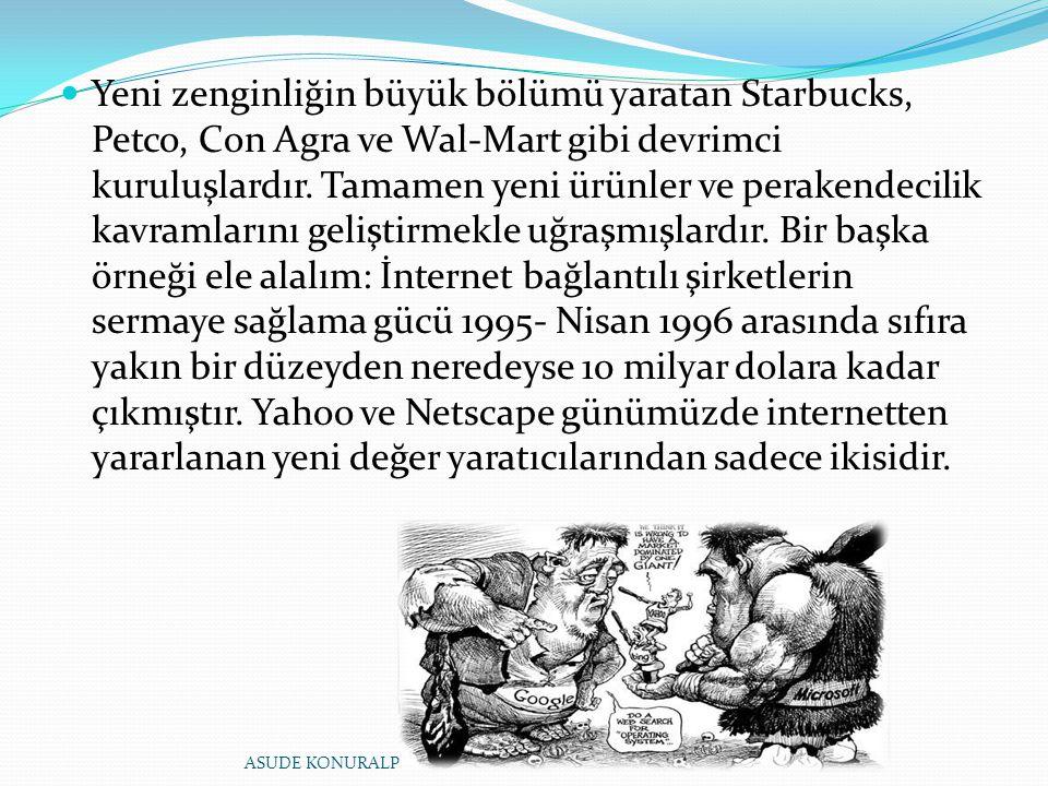 Yeni zenginliğin büyük bölümü yaratan Starbucks, Petco, Con Agra ve Wal-Mart gibi devrimci kuruluşlardır. Tamamen yeni ürünler ve perakendecilik kavramlarını geliştirmekle uğraşmışlardır. Bir başka örneği ele alalım: İnternet bağlantılı şirketlerin sermaye sağlama gücü 1995- Nisan 1996 arasında sıfıra yakın bir düzeyden neredeyse 10 milyar dolara kadar çıkmıştır. Yahoo ve Netscape günümüzde internetten yararlanan yeni değer yaratıcılarından sadece ikisidir.
