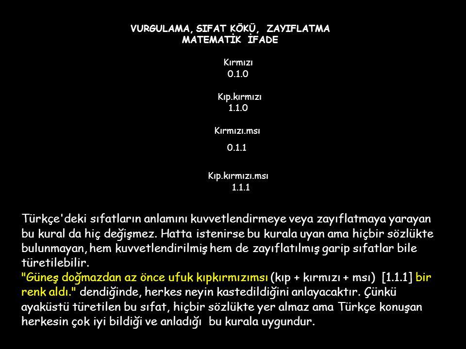 VURGULAMA, SIFAT KÖKÜ, ZAYIFLATMA MATEMATİK İFADE Kırmızı 0. 1. 0 Kıp