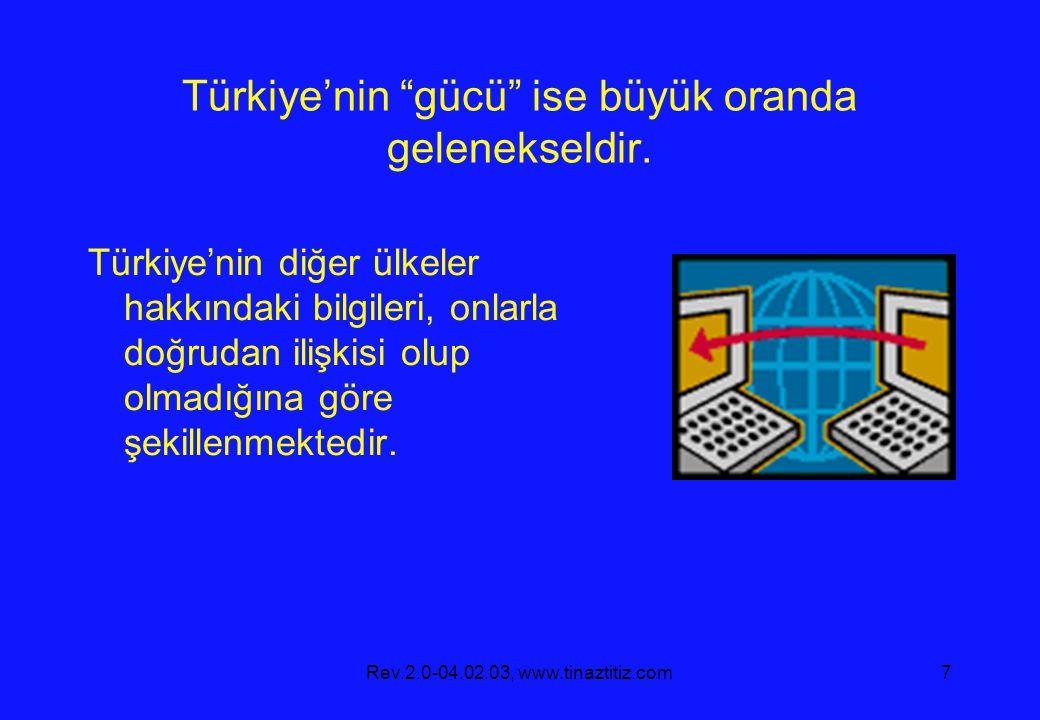 Türkiye'nin gücü ise büyük oranda gelenekseldir.