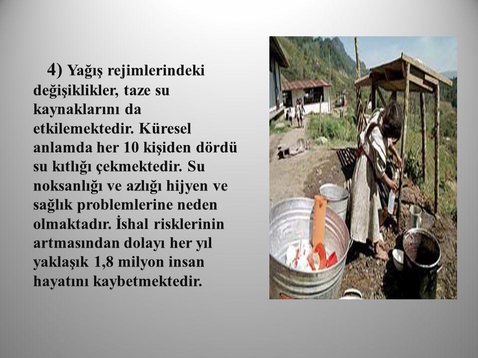 4) Yağış rejimlerindeki değişiklikler, taze su kaynaklarını da etkilemektedir.