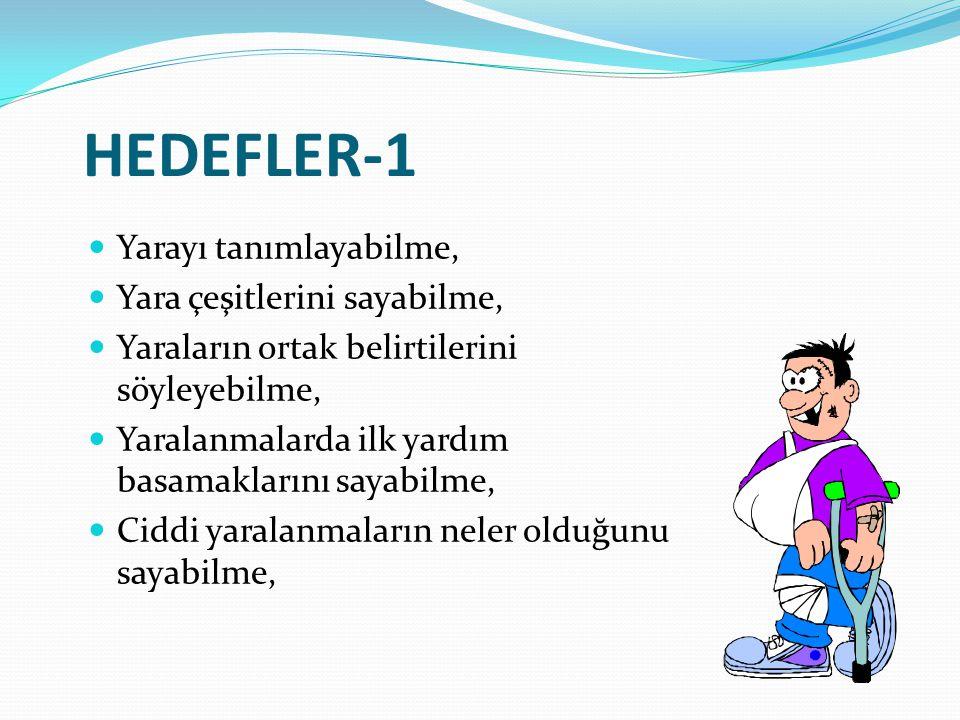 HEDEFLER-1 Yarayı tanımlayabilme, Yara çeşitlerini sayabilme,