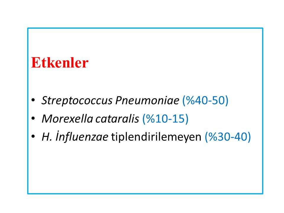 Etkenler Streptococcus Pneumoniae (%40-50)