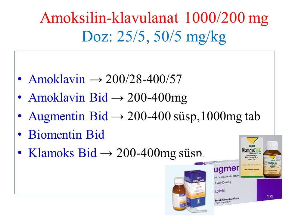 Amoksilin-klavulanat 1000/200 mg Doz: 25/5, 50/5 mg/kg