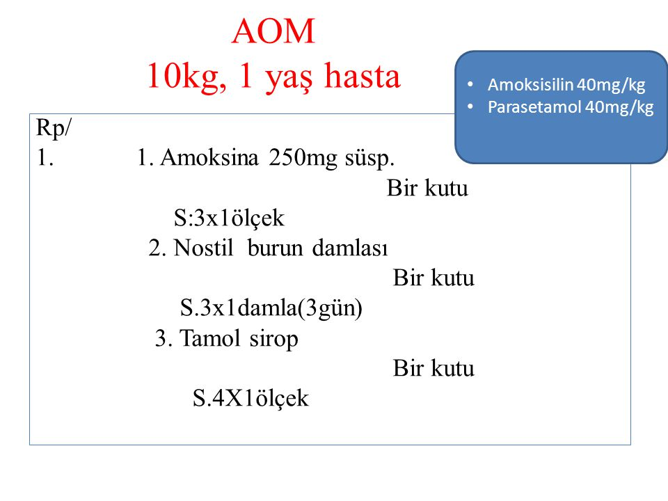 AOM 10kg, 1 yaş hasta Rp/ 1. Amoksina 250mg süsp. Bir kutu S:3x1ölçek