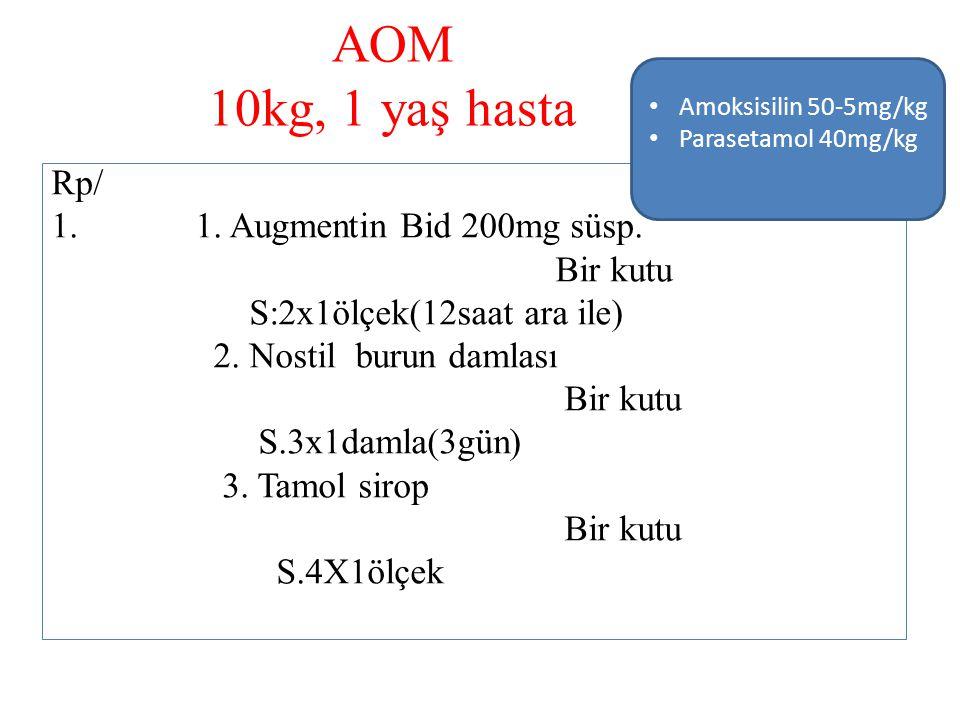 AOM 10kg, 1 yaş hasta Rp/ 1. Augmentin Bid 200mg süsp. Bir kutu