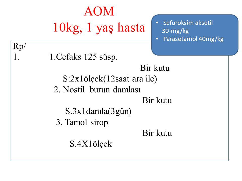AOM 10kg, 1 yaş hasta Rp/ 1.Cefaks 125 süsp. Bir kutu