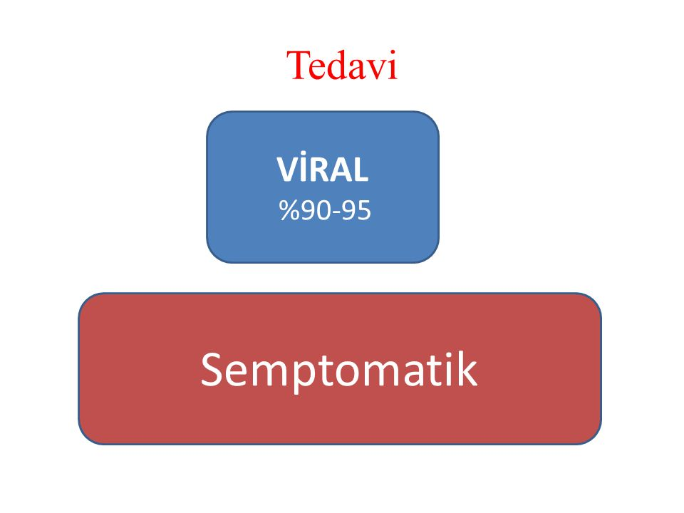 Tedavi VİRAL %90-95 Semptomatik
