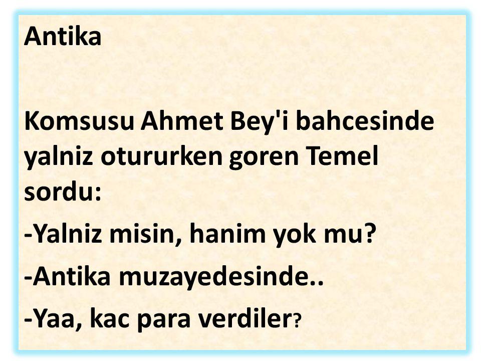 Antika Komsusu Ahmet Bey i bahcesinde yalniz otururken goren Temel sordu: -Yalniz misin, hanim yok mu