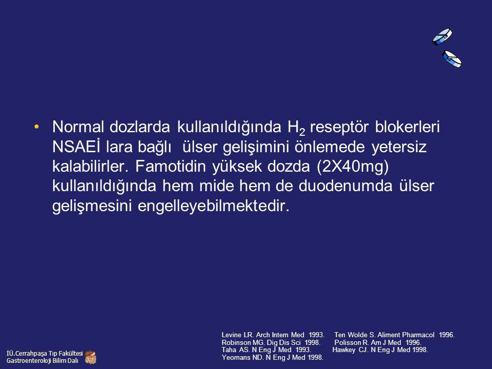 Normal dozlarda kullanıldığında H2 reseptör blokerleri NSAEİ lara bağlı ülser gelişimini önlemede yetersiz kalabilirler. Famotidin yüksek dozda (2X40mg) kullanıldığında hem mide hem de duodenumda ülser gelişmesini engelleyebilmektedir.