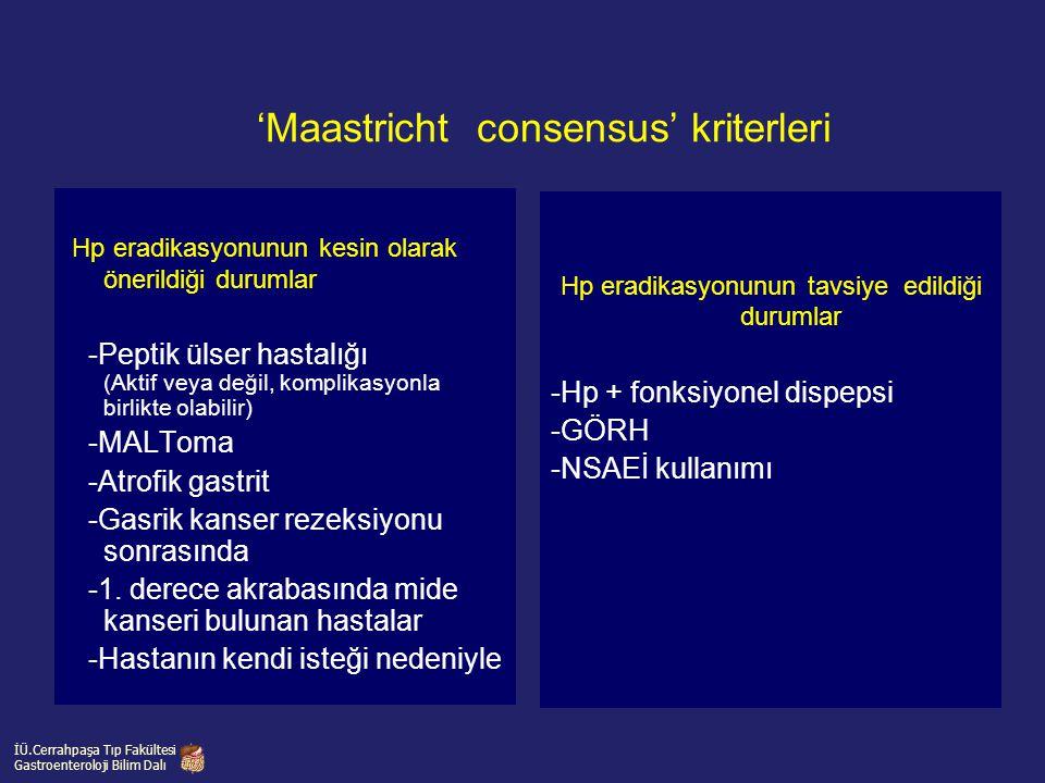 'Maastricht consensus' kriterleri