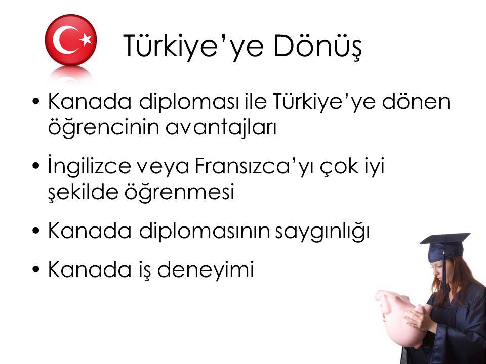 Türkiye'ye Dönüş Kanada diploması ile Türkiye'ye dönen öğrencinin avantajları. İngilizce veya Fransızca'yı çok iyi şekilde öğrenmesi.