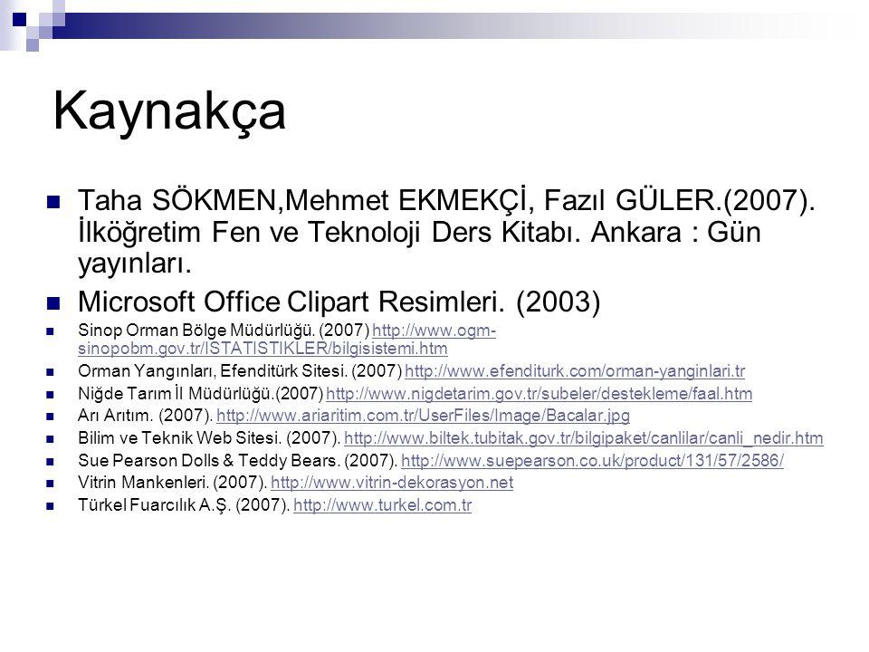 Kaynakça Taha SÖKMEN,Mehmet EKMEKÇİ, Fazıl GÜLER.(2007). İlköğretim Fen ve Teknoloji Ders Kitabı. Ankara : Gün yayınları.
