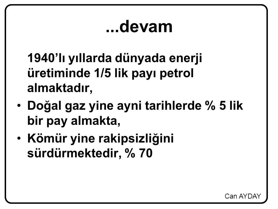 ...devam 1940'lı yıllarda dünyada enerji üretiminde 1/5 lik payı petrol almaktadır, Doğal gaz yine ayni tarihlerde % 5 lik bir pay almakta,