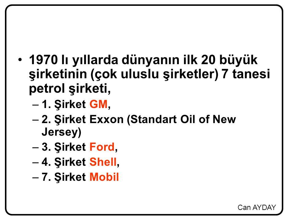 1970 lı yıllarda dünyanın ilk 20 büyük şirketinin (çok uluslu şirketler) 7 tanesi petrol şirketi,