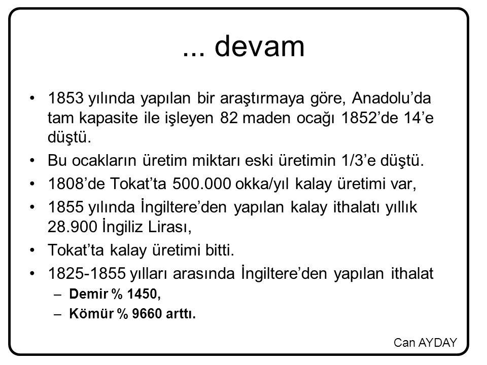 ... devam 1853 yılında yapılan bir araştırmaya göre, Anadolu'da tam kapasite ile işleyen 82 maden ocağı 1852'de 14'e düştü.