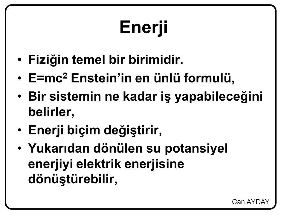 Enerji Fiziğin temel bir birimidir. E=mc2 Enstein'in en ünlü formulü,