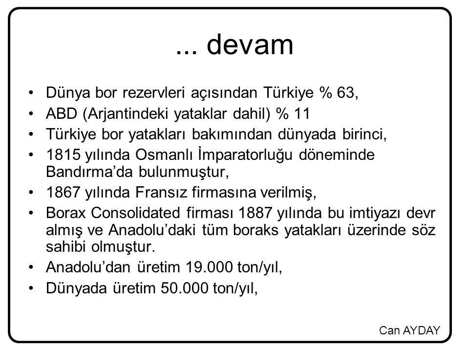 ... devam Dünya bor rezervleri açısından Türkiye % 63,