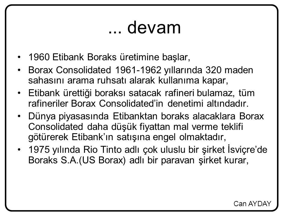 ... devam 1960 Etibank Boraks üretimine başlar,