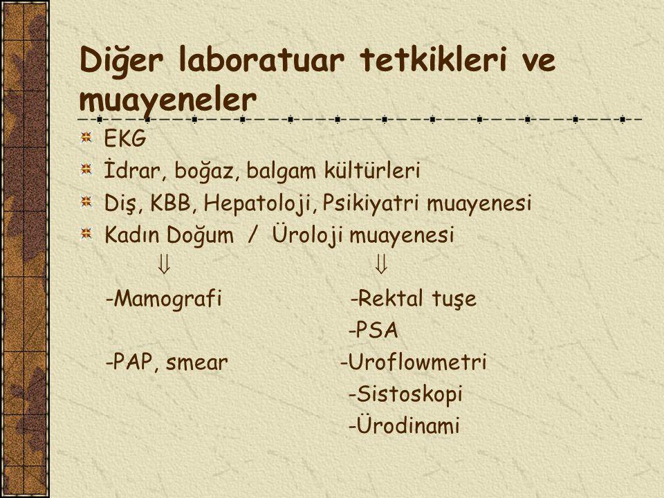 Diğer laboratuar tetkikleri ve muayeneler