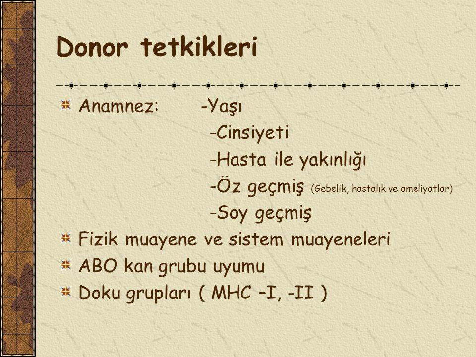 Donor tetkikleri Anamnez: -Yaşı -Cinsiyeti -Hasta ile yakınlığı