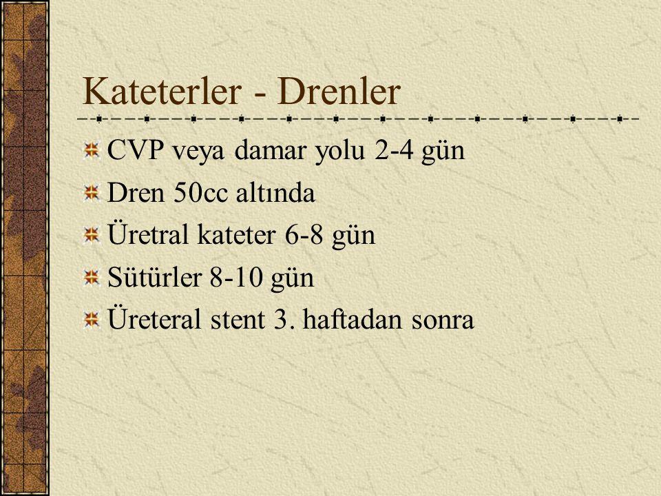 Kateterler - Drenler CVP veya damar yolu 2-4 gün Dren 50cc altında