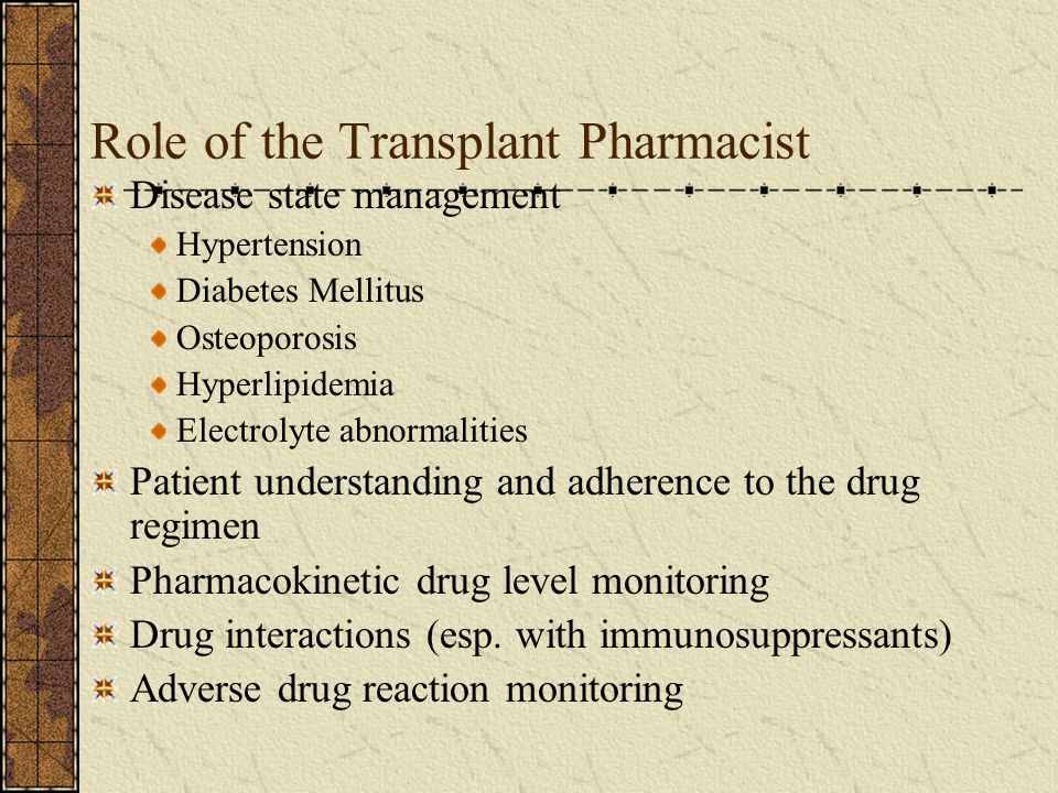 Role of the Transplant Pharmacist