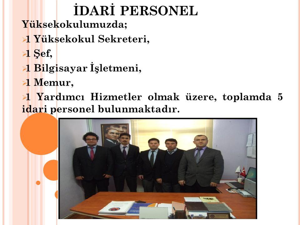 İDARİ PERSONEL Yüksekokulumuzda; 1 Yüksekokul Sekreteri, 1 Şef,