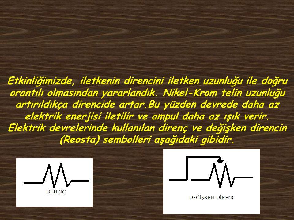 Etkinliğimizde, iletkenin direncini iletken uzunluğu ile doğru orantılı olmasından yararlandık.