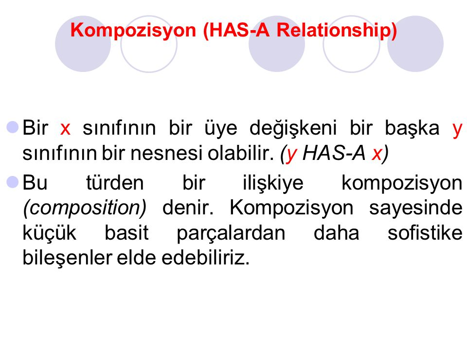 Kompozisyon (HAS-A Relationship)